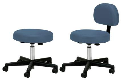 Blue stools with wheels