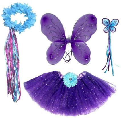 Enchantly 6 Pc Girls Dark Purple & Teal Fairy Set with Wings