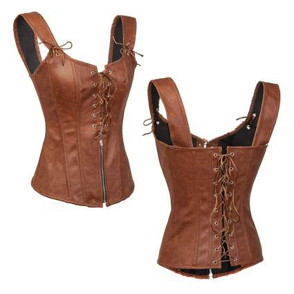 faux leather wet look steampunk corset