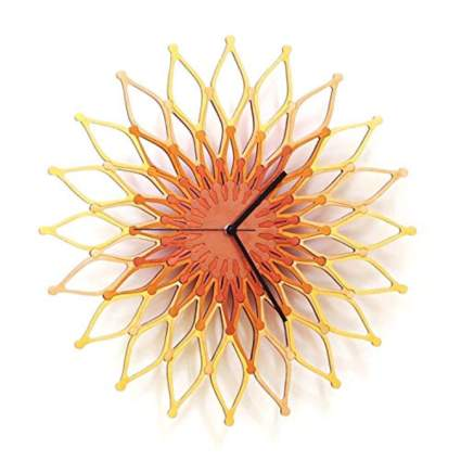 handmade yellow and orange starburst clock
