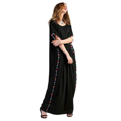 black maxi kaftan with colored pom pom trim