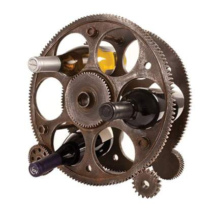 gears and wheels steampunk wine rack