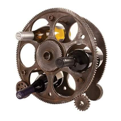 gears and wheels steampunk wine rack