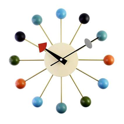 multi color mid century modern ball clock