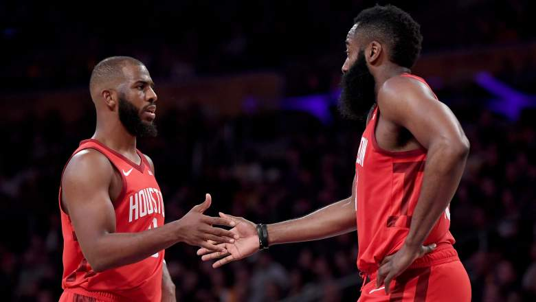Chris Paul #3 and James Harden #13 of the Houston Rockets