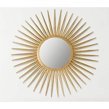 gold sun flare wall mirror