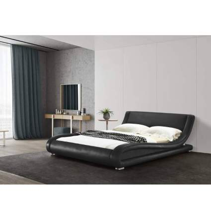 GREATIME B1070 Eastern King Black Comtemparay Upholstered Bed
