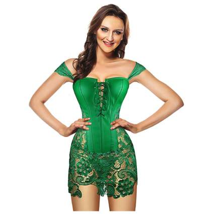 green faux leather corset with lace skirt