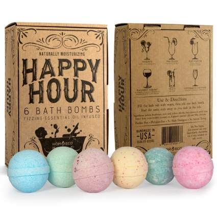 Brown box of colorful bath bombs