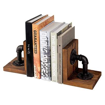 industrial pipe and wood bookends