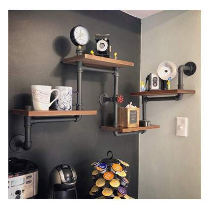 industrial pie and wood bookshelf