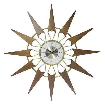 cherry and gold starburst wall clock