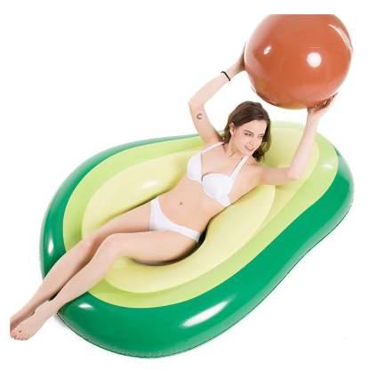 Woman in avocado pool float
