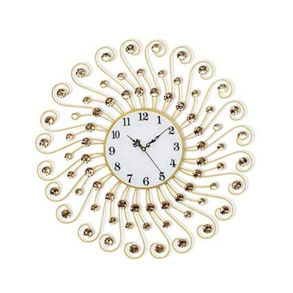 jeweled gold swirling sunburst clock