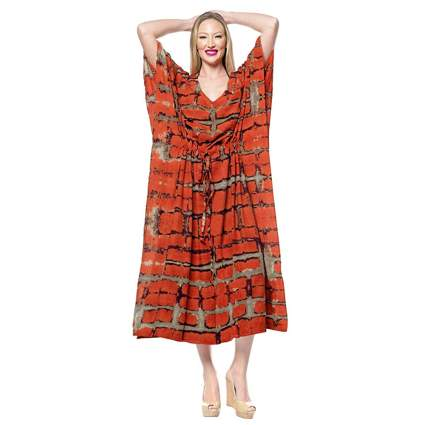 orange tie dye plus size kaftan