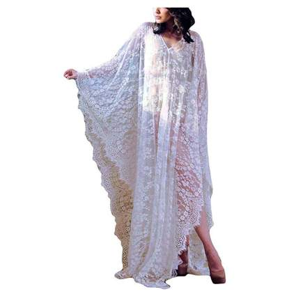 white lace beach kaftan