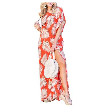 red leaf print one shoulder kaftan