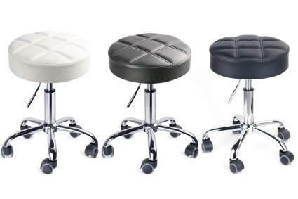 White gray and black medical stools