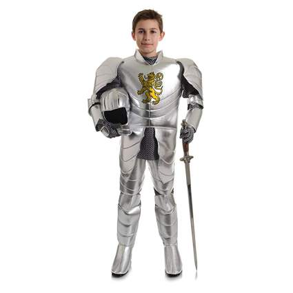lion crested metallic knight kids costume