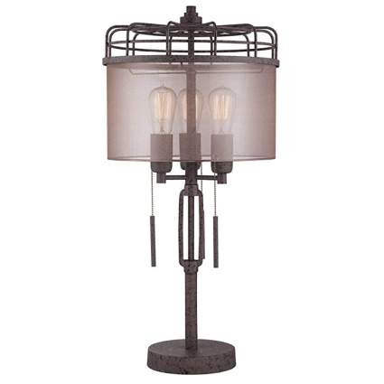 bronze metal cage tall table lamp