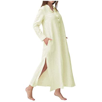 beige long sleeve split kaftan maxi