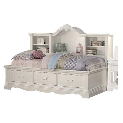 "Major-Q 84"" x 55"" x 59""H Classic Traditional Style White Finish Twin Size Daybed with Storage Bookcase Back Panel and Drawers"