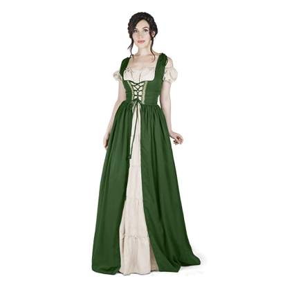 medieval white chemise and green overdress