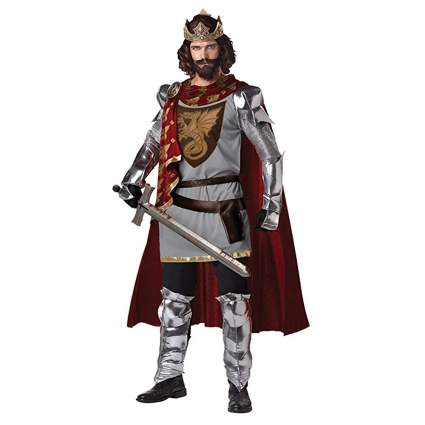 silver and red king arthur costume