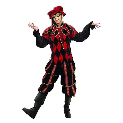 black and red medieval court jester costume