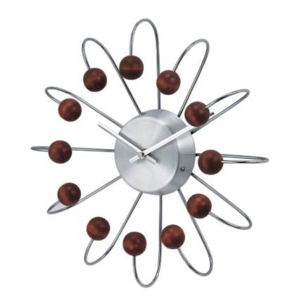 metal and walnut atomic clock