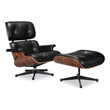 mid century modern black leather and wood chair with ottoman