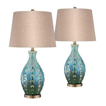 teal table lamps with linen shades