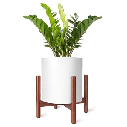 mid century modern wood plant stand