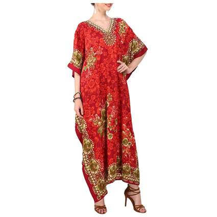 red and gold print kaftan