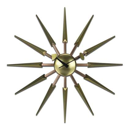 modern gold starburst clock