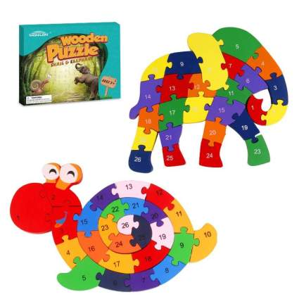 Monilon Wooden Blocks, 52 Pcs Kids Toys Alphabets & Numbers Winding Snail & Elephant Jigsaw Puzzle