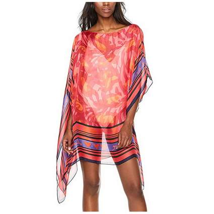 red and purple print sheer short kaftan