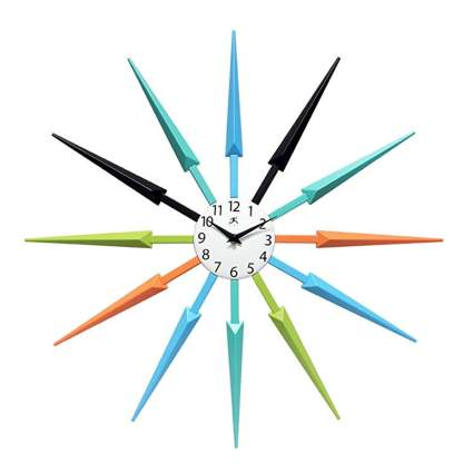 multi colored starburst spoke clock