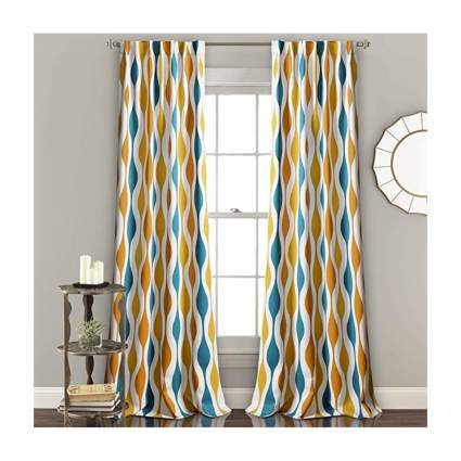 multicolor geometric print curtains