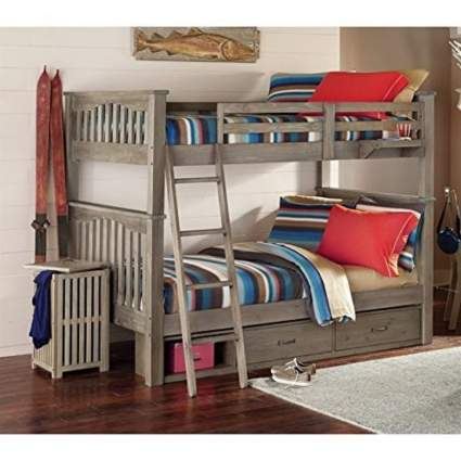 NE Kids Highlands Harper Full Over Full Storage Bunk Bed in Driftwood