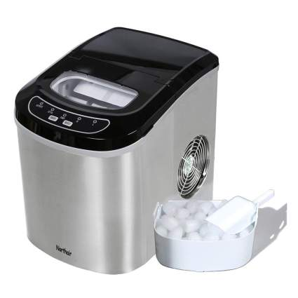 black and steel ice maker