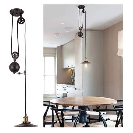 oil rubbed bronze pendant light with pulleys