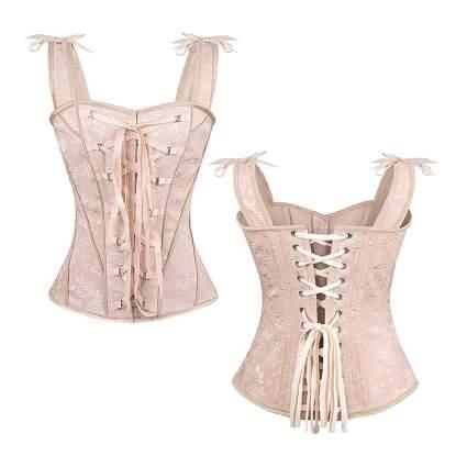 pale pink steampunk corset