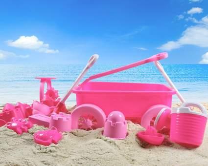 pink princess beach wagon toy set