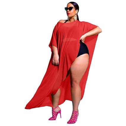 red draped open side kaftan cover up