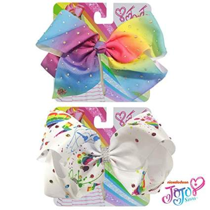 rainbow and white jojo bow