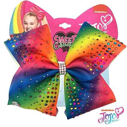 rainbow with gems jojo bow