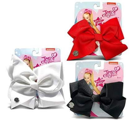 Red white and black jojo bows