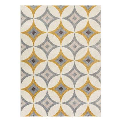 gold and grey retro diamond geometric area rug