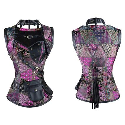 purple print steampunk corset with belt purse